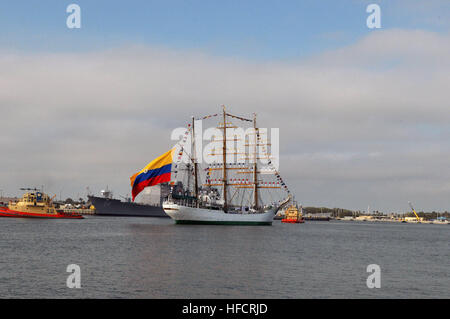 The Colombian navy training ship ARC Gloria arrives at Naval Station Mayport, Fla., May 10, 2012, for a scheduled - Stock Photo