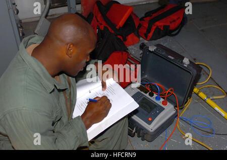 GUANTANAMO BAY, Cuba - Navy Chief Petty Officer Rajon Martin checks the insulation on generator winding to ensure - Stock Photo