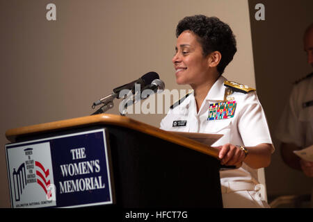 Adm. Michelle Howard thanks her family, friends, and shipmates following her historic promotion to the rank of admiral - Stock Photo