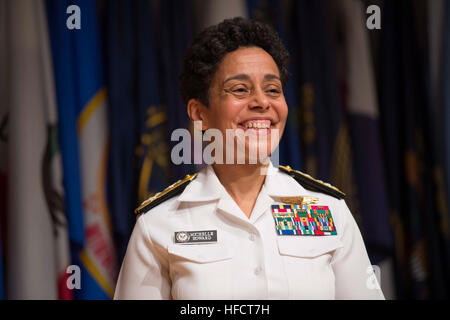Adm. Michelle Howard smiles following her historic promotion to the rank of admiral at the Women in Military Service - Stock Photo