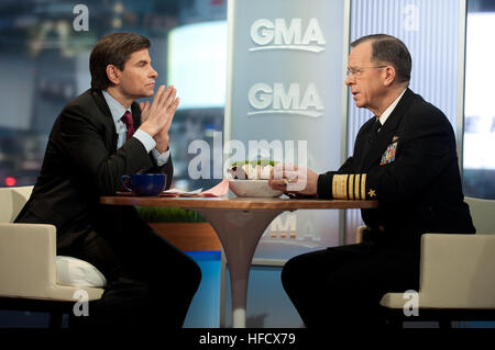 Chairman of the Joint Chiefs of Staff Adm. Mike Mullen is interviewed by Good Morning America's George Stephanopoulos. - Stock Photo