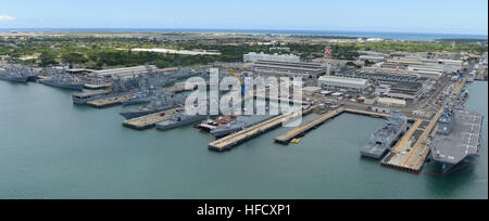 An aerial view of ships moored at Joint Base Pearl Harbor-Hickam during Rim of the Pacific (RIMPAC) Exercise 2014. - Stock Photo