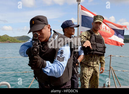 SATTAHIP, Thailand (June 7, 2013) Chief Boatswain's Mate Elias Inoa, assigned to Maritime Civil Affairs and Security - Stock Photo