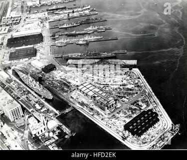 Aerial view of Boston Navy Yard, circa July 1943 - Stock Photo