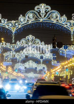 ST. PETERSBURG, RUSSIA - January 13, 2016: Nevsky Prospect at night Christmas illumination. It is the main street - Stock Photo
