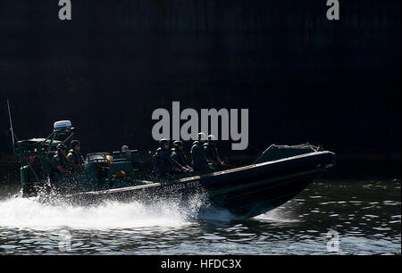 DAKAR, Senegal (March 9, 2013) U.S. Sailors ride with crew members of the Spanish Civil Guard patrol ship Rio Segura - Stock Photo