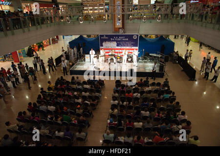 The U.S. 7th Fleet Band's Flagship Brass Quintet performs at SM Mega Mall, in front of an audience of more than - Stock Photo