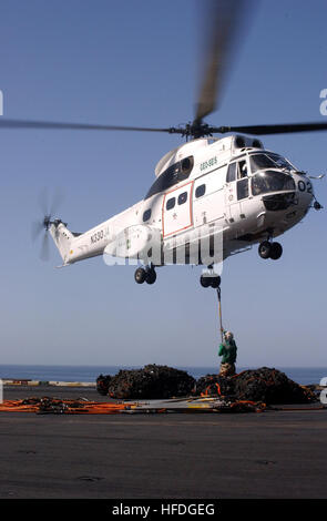 020327-N-6713R-124 At sea aboard USS John C. Stennis (CVN 74) Mar. 27, 2002 -- Contracted by the U.S. Military Sealift - Stock Photo