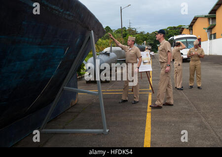 100731-N-LL432-286.USS NEW ORLEANS (LPD 18),  (July 31, 2010)  Commodore, Amphibious Squadron 5, Capt. Peter Brennan - Stock Photo