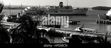 The cruise ship Ariadne in Key West Harbor in 1971. U.S. Navy photo. Ariadne in Key West (8749747233) - Stock Photo