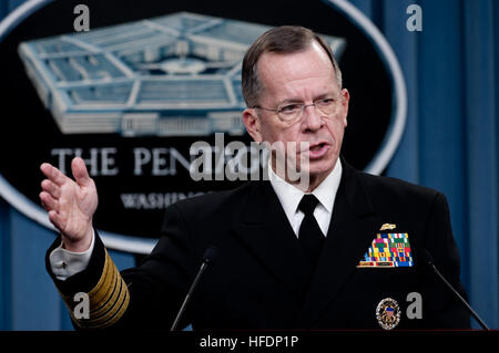 U.S. Navy Adm. Mike Mullen, chairman of the Joint Chiefs of Staff, speaks during a news conference at the Pentagon - Stock Photo