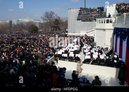 090120-N-0696M-083 44th President Barack Obama addresses the audience during his inaugural address, Washington, - Stock Photo