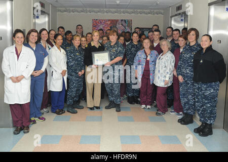 Naval Hospital Pensacola staff pose for a picture Jan. 23 with their First Star certificate from the Florida Breastfeeding - Stock Photo