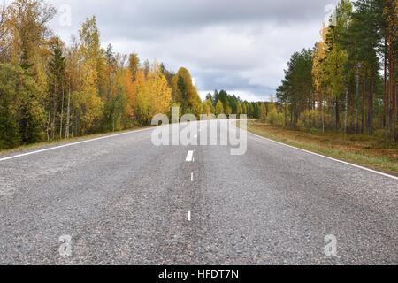 road through autumn trees in Finland - Stock Photo