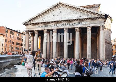 ROME, ITALY - NOVEMBER 1, 2016: many tourists near Pantheon building on Piazza della Rotonda in Rome city. Pantheon - Stock Photo