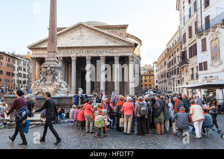 ROME, ITALY - NOVEMBER 1, 2016: people in front of Pantheon edifice on Piazza della Rotonda in Rome city. Pantheon - Stock Photo
