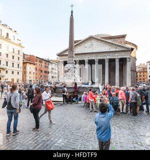 ROME, ITALY - NOVEMBER 1, 2016: tourists on Piazza della Rotonda in Rome city. Piazza della Rotonda is city square - Stock Photo