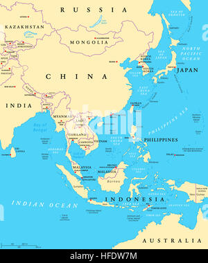 East Asia political map with capitals and national borders. Eastern subregion of Asian continent. China, Mongolia, - Stock Photo