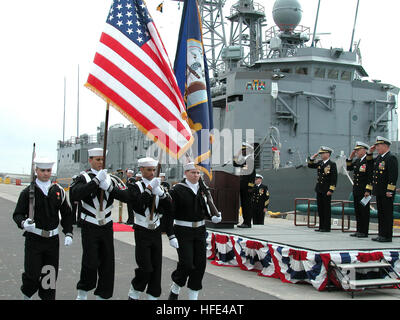 040225-N-1159B-002 Naval Weapons Station Seal Beach, Calif. (Feb. 25, 2004) – The color guard parades the colors - Stock Photo