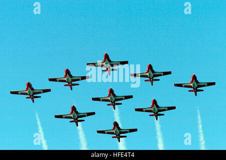 041009-N-6932B-464 San Francisco Bay, Calif. (Oct. 9, 2004) - The Canadian Forces air demonstration team, 'Snowbirds,' - Stock Photo