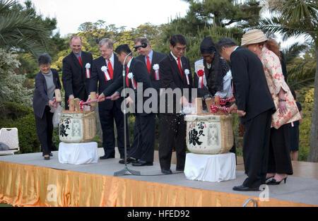 050520-N-9851B-019 Shimoda, Japan (May 20, 2005) Ð American and Japanese dignitaries break open casks of ceremonial - Stock Photo