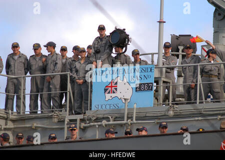 050602-N-5334H-002 Tasman Sea (June 2, 2005) – Crew members assigned to the Royal Australian Navy HMAS Success (AOR - Stock Photo