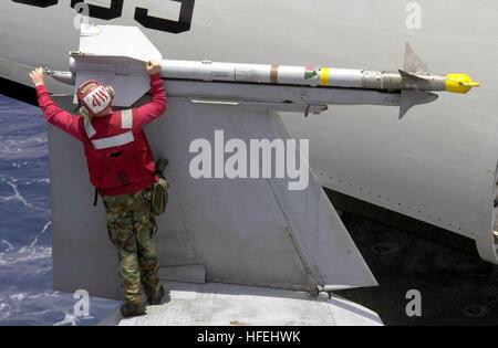 030403-N-9319H-012 The Indian Ocean (Apr. 2, 2003) – An Aviation Ordnancman perform a weapons inspection on an AIM - Stock Photo
