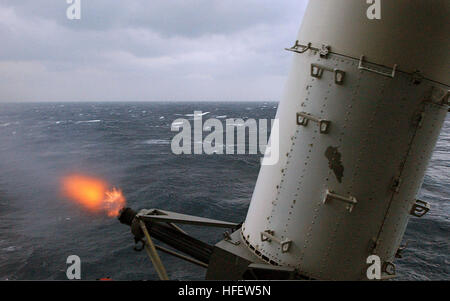 040225-N-7986B-029 Onboard USS Harry S. Truman (CVN 75). Serious flamage during a Close-in Weapons System Practice - Stock Photo