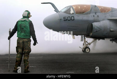 040322-N-7732W-077  Pacific Ocean (Mar. 22, 2004) - An EA-6B Prowler assigned to the 'Cougars' of Electronic Attack - Stock Photo