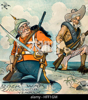 Misery loves company; - but they hope soon to be out of it   Political cartoon shows John Bull standing up to his - Stock Photo