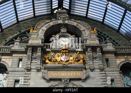 Antwerp's train station is considered one of  finest example of railway architecture in Europe. It was fully restored - Stock Photo