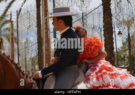 Andalucian Women during the Feria in Jerez -  11/05/2013  -  Spain / Andalusia / Jerez de la Frontera  -  Women - Stock Photo