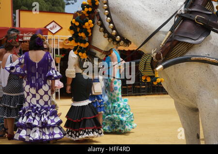 Andalucian Women during the Feria in Jerez -  08/05/2013  -  Spain / Andalusia / Jerez de la Frontera  -  Women - Stock Photo