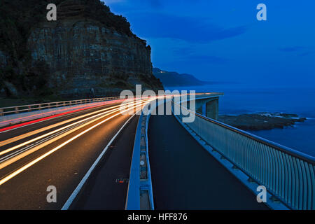 Sea cliff bridge near Clifton on a way to Wollongong - part of Australia NSW Great Pacific drive tourism experience - Stock Photo