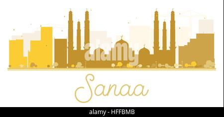 Sanaa City skyline golden silhouette. Vector illustration. Simple flat concept for tourism presentation, banner, - Stock Photo