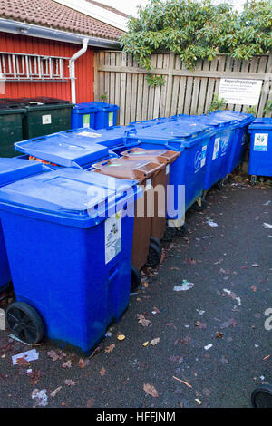 Rows of waste containers or wheelie bins in residential garbage or rubbish collection area  Model Release: No.  - Stock Photo