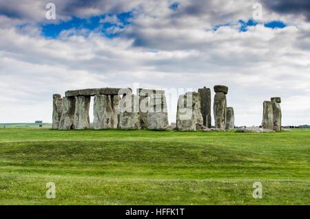 Clouds above Stonehenge in the Salisbury Plain - Stock Photo