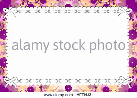 Floral, craft, cute  purple flowers, top white paper, elegant card background, with round holes binding and white - Stock Photo