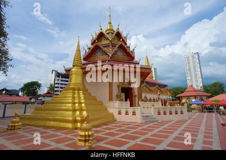 Golden Stupa in Wat Chayamangkalaram, Penang, Malaysia - Stock Photo