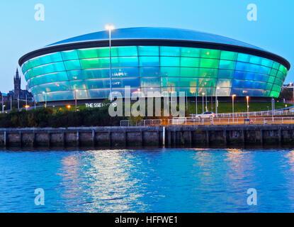 UK, Scotland, Lowlands, Glasgow, Twilight view of the Hydro. - Stock Photo
