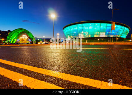 UK, Scotland, Lowlands, Glasgow, Twilight view of The Clyde Auditorium and the Hydro. - Stock Photo