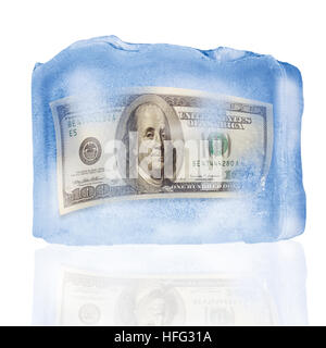 US one hundred dollar bill frozen in a block of ice - Stock Photo
