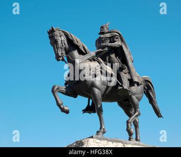 Equestrian statue of Skanderbeg, Albanian national hero, Skanderbeg Square, Tirana, Albania - Stock Photo