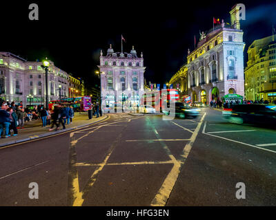 Traffic, Piccadilly Circus, night, London, England, United Kingdom - Stock Photo