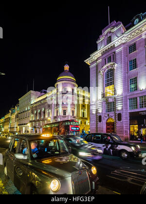 Piccadilly Circus, Regent Street, taxi at night, London, England, United Kingdom - Stock Photo