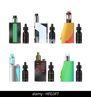 Vape Mod Set. Electronic Cigarette With Juice. Colorful Vector Vaporize Device With Liquid Bottles On White Background. - Stock Photo