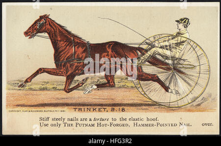 Agriculture Trade Cards - Trinket, 2.18 - Stiff steely nails are a torture to the elastic hoof. Use only the Putnam - Stock Photo