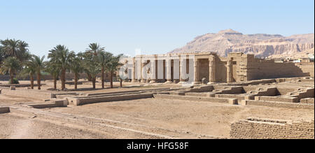 the Mortuary Temple of Seti I in front of Meret Segar in Theban Hills on West Bank of the Nile at Luxor, Egypt, - Stock Photo