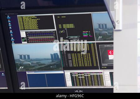 Singapore F1 grand prix formula one screen monitor data - Stock Photo