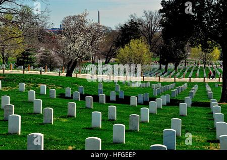 Arlington, Virginia - April12, 2014:  Row upon row of military gravesites at Arlington National Cemetery * - Stock Photo